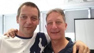 """Jörg Benner, Geschäftsführer Deutscher Frisbeesport-Verband (l.), zusammen mit Robert """"Nob"""" Rauch, Präsident der World Flying Disc Federation"""