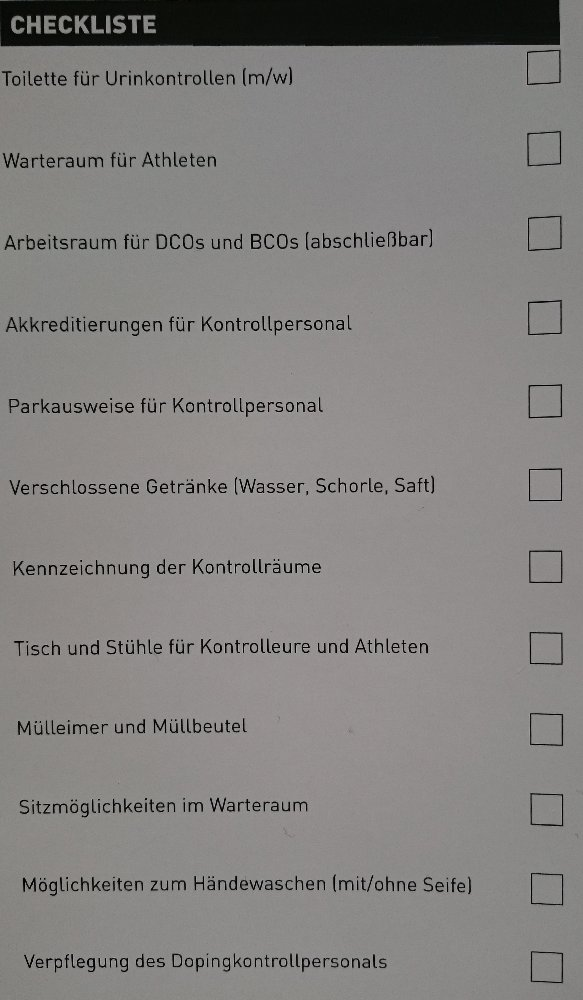 Dopingkontroll-Checkliste