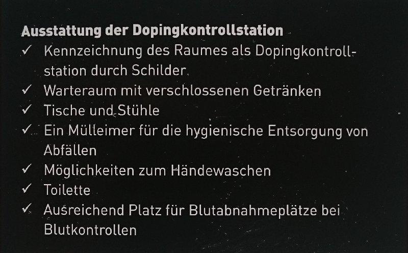 Dopingkontrollstation-Ausstattung